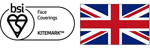 BSI face coverings Kitemark and UK flag